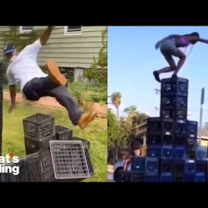 The Viral Milk Crate Challenge, Explained and Discouraged By Health Experts